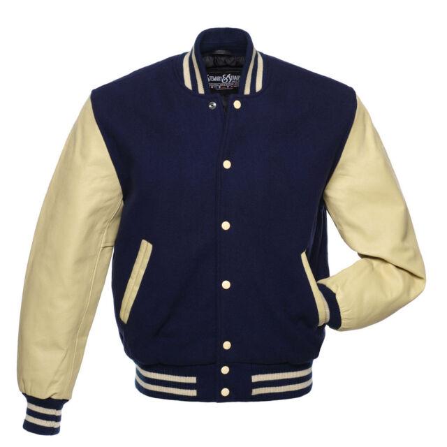 Stewart & Strauss Navy Blue Wool & Natural Cream Leather Varsity School Jacket