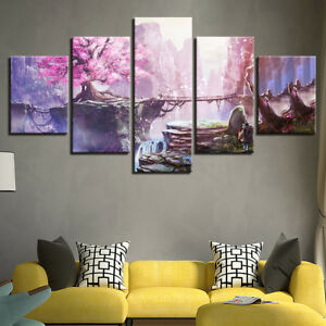 Details about Pink Cherry Blossom Anime 5 Pieces Canvas Art HD Print  Picture Home Wall Decor