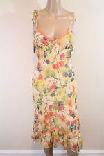 Vtg 90s Betsey Johnson Silk Midi Sundress SZ 4 Yellow Floral Lace Trim Bias Cut