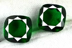 Free Certificate 20-22 Ct Cushion Colombian Emerald Gems Pair Natural Certified