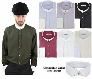 2d1687558a6 Image is loading Mens-Peaky-Blinders-Herringbone-Shirt-Detachable-Collar -Penny-