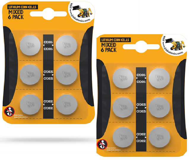 12 JCB Lithium Coin Cell Batteries Assorted Sizes CR2016 CR2025 CR2032 free P&P,