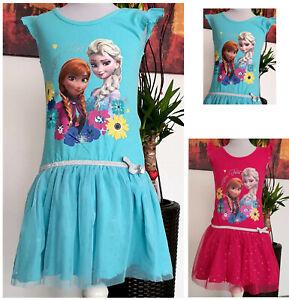 Kinder-Maedchen-Kleid-Gr-110-134-Diseny-Frozen-Elsa-Sommerkleid-Kinderkleid