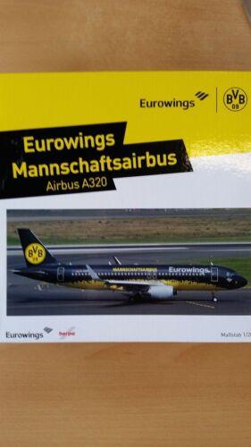 Herpa 558167 - 1/200 Airbus A320 - Eurowings - Bvb Mannschaftsairbus - Neu