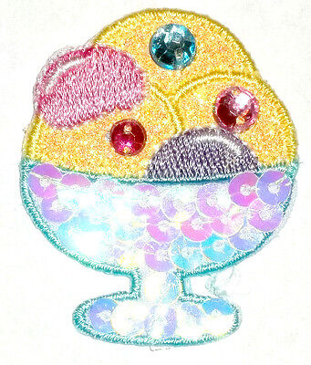 ICE CREAM SUNDAE W/SEQUINS/ ACCENTS IRON ON APPLIQUE PATCH