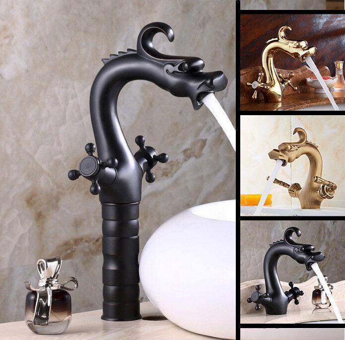 Unique Or Dragon noir salle de bains bassin évier 2 poignées mélangeur robinet en laiton robinets
