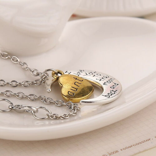 """Best Gifts For Family /""""I LOVE YOU TO THE MOON AND BACK/"""" Pendant Necklace Jewelry"""