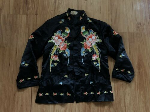 1930s 1940s Vintage Embroidered Asian Silk Jacket
