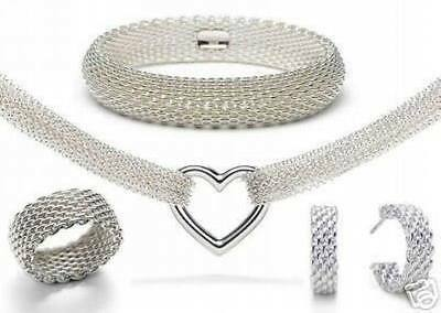 beautiful Fashion silver Pretty cute mesh Ring Earring Bangle Necklace set