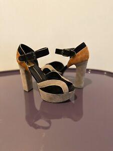 Dolce-Vita-Sz-6-5-Black-brown-grey-Suede-Peep-Toe-Ankle-Strap-7-Heels