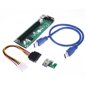 USB 3.0 PCI-E Express 1x to16x Extender Riser Card Adapter SATA 4PIN Power Cable
