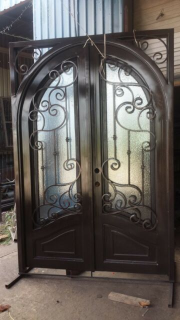 Double Wrought Iron Door Forged Entry Door Glass Included Custom
