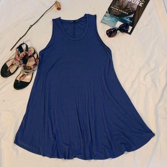 Luxe Periwinkle Muscle Tank Swing Dress - image 5