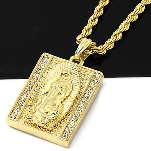 Mens gold iced square virgin mary pendant 24 rope chain hip hop image is loading mens gold iced square virgin mary pendant 24 mozeypictures Image collections