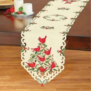 Cardinals and Holly Christmas Embroidered Polyester Table Runner