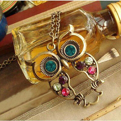 Hot Cute Women Vintage Rhinestone Owl Pendant Long Chain Necklace Hollow Jewelry