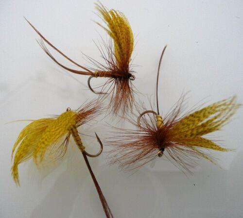 3 x mouches de mai ailée yellow drake H10 barbless  truite ombre