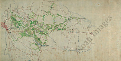 Map of White House to Harrisons Landing Virginia c1860s 36x18