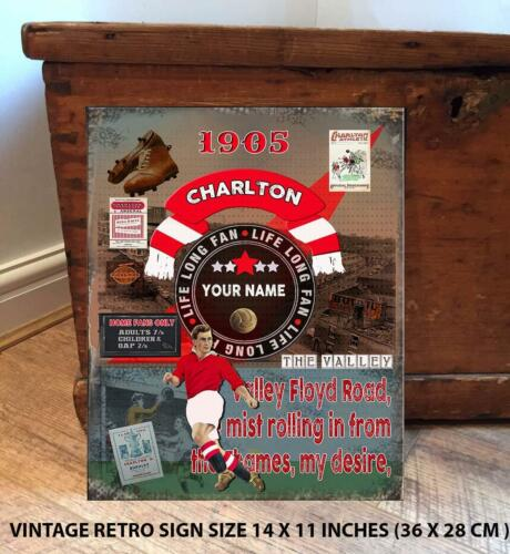 PERSONALISED  CHARLTON ATHLETIC    NO1 FAN  FOOTBALL Vintage  Metal Wall Sign