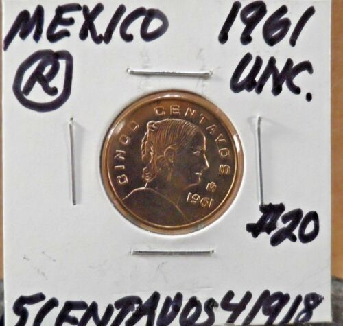 #20R UNCIRCULATED 1961 5 CENTAVOS MEXICAN COIN 41918