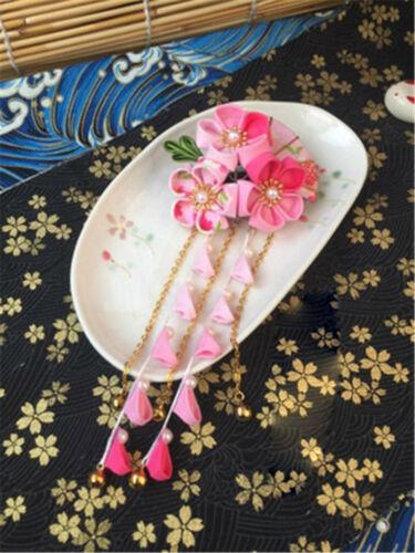 Sakura Tsumami ZAIKU Kanzashi épingle à cheveux accessoire rose rouge jaune coupe kimono cadeau