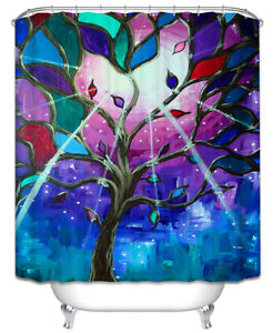 Image Is Loading Stained Glass Tree Colorful Fabric SHOWER CURTAIN 70x70
