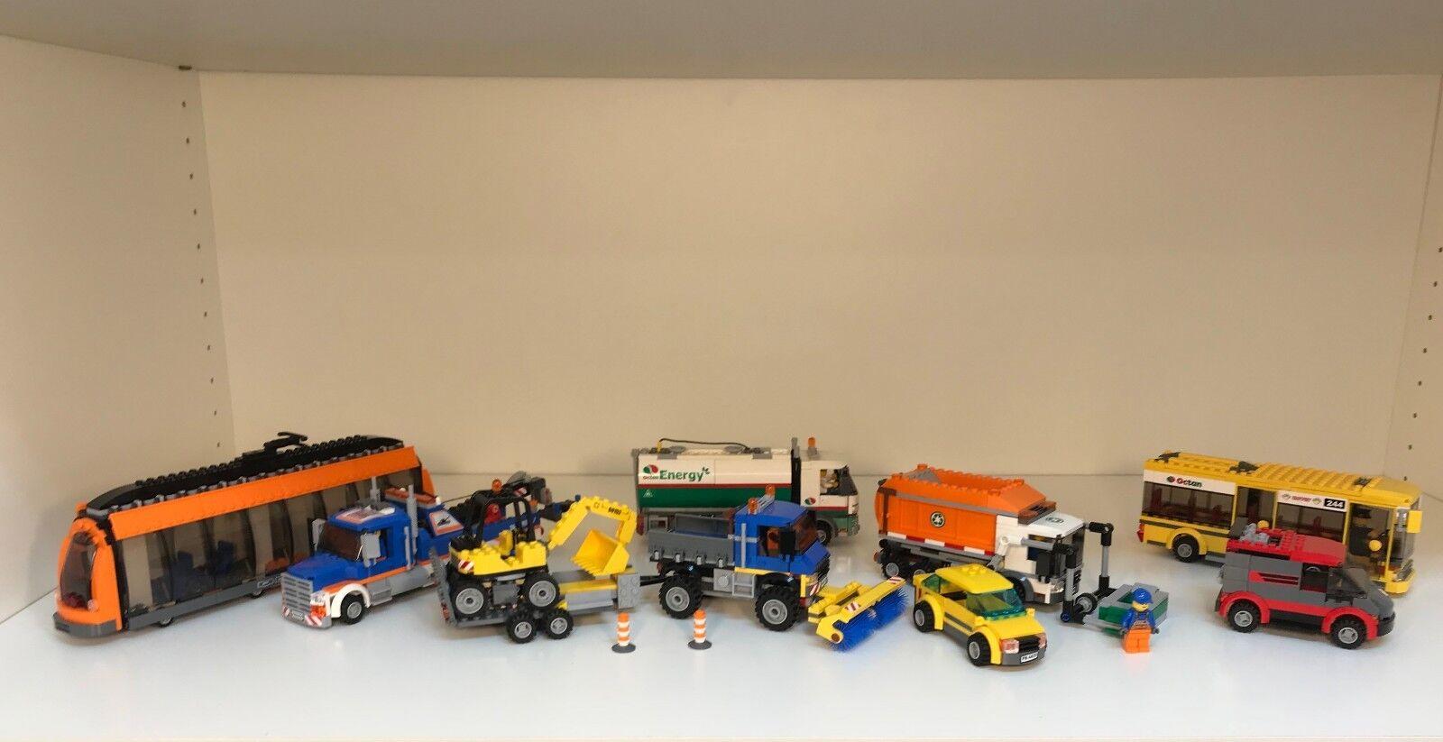 Lego City Car Lot 60118 60056 60152 60016 60017 4435 60008 60097 7641 (11 cars )