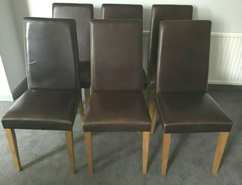 leather dining chairs dark brown x 6
