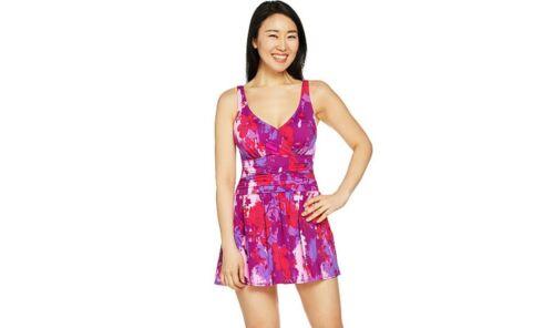 Women/'s Plus Sizes NEW Denim /& Co Beach Ruched Flounce Swim Dress Swimsuit