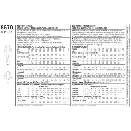 Simplicity Sewing Pattern 8670 simplicidad - 8670-M fp Gratis Reino Unido P/&p