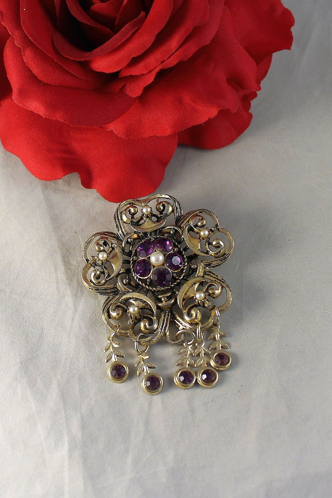 Vintage Ornate Purple Rhinestone Faux Pearl   Pin… - image 1