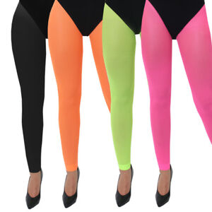 71e3a07a5fc7e ADULTS NEON FOOTLESS TIGHTS 80S 90S PARTY RAVE LADIES FANCY DRESS 4 ...