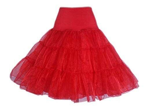 """25"""" Sottogonna Retrò 50s Swing Vintage Petticoat Tutu Fantasia Rete Gonna Rossa Nuovo Regno Unito Ulteriori Sorprese"""