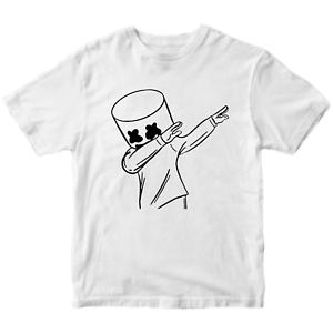 Marshmello DJ Funny Kids Children's T-Shirt Gift Dabbing Cool Music Inspired Tee