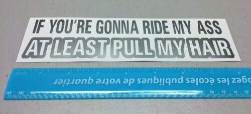 If you/'re gonna ride my ass at least pull my hair sticker jdm vinyl decal RN