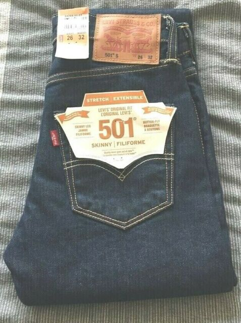 Levis 501 Jeans Men's Dark Blue Original Levi Denim W 26 L 32 BNWT