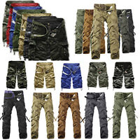 Men Army Combat Trousers Military Camo Work Cargo Short Long Pant Tag Size 29-38