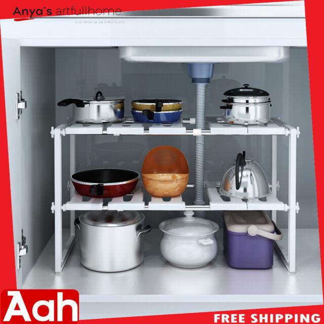 2 Tier Under Sink Expandable Kitchen Cabinet Shelf Organizer Bath Storage Rack For Sale Ebay