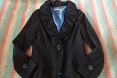 Clothing, Shoes & Accessories top,blazer,crystal Buttons *u Latest Technology Women's Clothing Responsible Classiques Entier Sz 2p Charcoal Blue Stripes