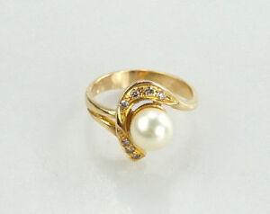 Edler-Ring-750er-18-Kt-Ring-Brillanten-Perle-Gelbgold-3-84-Gramm-Gr-50