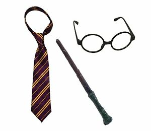 Harry Potter Wizards Tie Wand Glasses Braces set For Fancy Dress World Book Day