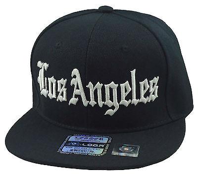 New Vinatge Los Angeles SnapBack Flat Bill LA 3D Hip Hop Hat Cap Black