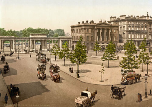 "PS22 Vintage 1890/'s Photochrom Photo Hyde Park Corner London Print A3 17/""x12/"""
