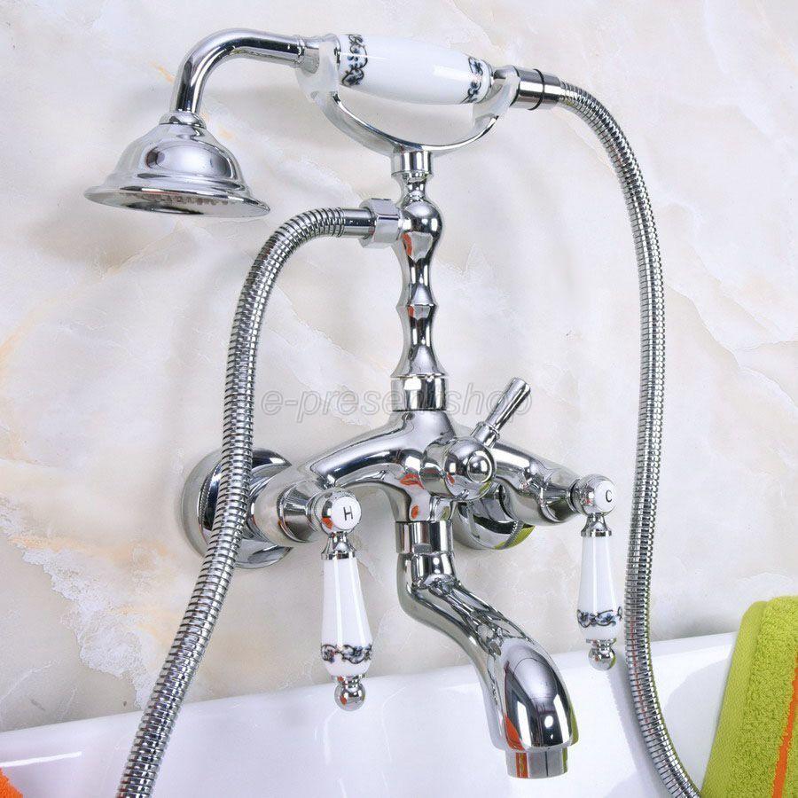 Chrome Vintage clawfoot baignoire robinet avec douchette-Support mural Bna218