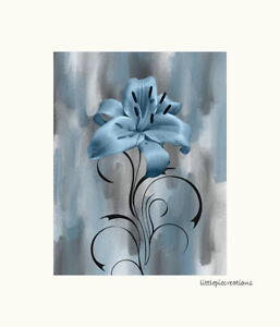 Blue Gray Modern Contemporary Wall Art Lily Flower Bedroom Bathroom Wall Decor Ebay
