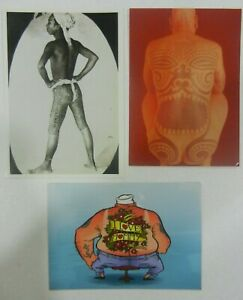 3-x-mixed-tattoo-postcards-rare-collectibles-NOT-MACHINE