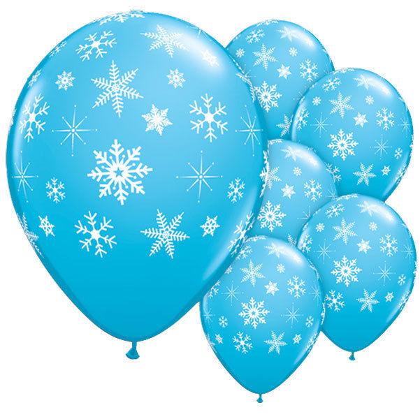 Frozen Blue Snowflake Helium Latex Balloons (x6) Christmas Holidays Decoration