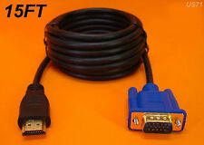 NEW 15 FT LONG HDMI TO VGA MONITOR CABLE COMPUTER TO TV CORD 15-PIN US SELLER