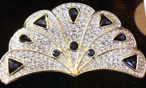 Swarovski-Swan-Signed-Pave-Crystal-Fan-Brooch-Pin