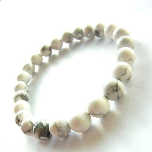 Armband Power Beads weiss grau Kugeln Damen Herren Meditation Glücksbringer